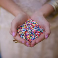 Throw sprinkles instead of rice for weddings - the pictures turn out amazing.