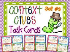 """Context Clues Task Cards Set #3 ~ A set of 32 task cards that require students to use their context clues skills to read brief """"paragraphs"""" and determine the meaning of an underlined word. Your students will love this engaging set of task cards (mine asked for another set!). Provides for easy differentiation, especially when partnered with my other context clues task cards. $"""