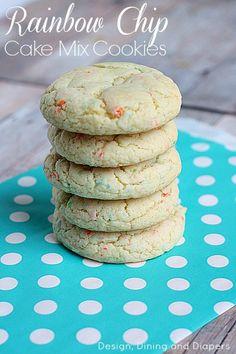 Rainbow Chip Cake Mix Cookies