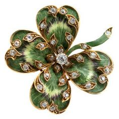 Lucky clover pin, enamel with diamonds.   Beautifully done.