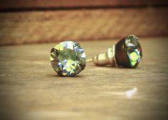 Gray Rhinestone Stud Earrings Black Diamond by RewElliott on Etsy, $17.00