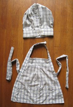 Stuff You Can't Have: repurposed men's shirts into child's apron, chefs hat,   UPCYCLED