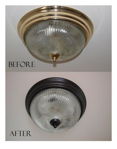 Spray paint the cheap builder's gold light fixtures to bronze. This gold is what we have...if we want to update to bronze more cheaply than replacing, this is a good idea!