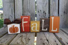 Primitive FALL Pumpkin Wood Block Set . . . fall autumn home decor seasonal pumpkin personalized wood block set