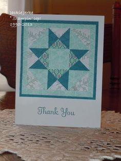 handmade quilt card  by JJ Rubberduck  ... patchwork pattern  in blues ...  great choice of papers ... like it!