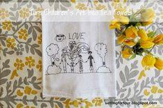 Turn kids picture into tea towel