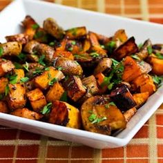 Kalyn's Kitchen®: Recipe for Roasted Sweet Potatoes and Mushrooms with Thyme and Parsley--I might add some chicken sausage for more protein and a complete meal.