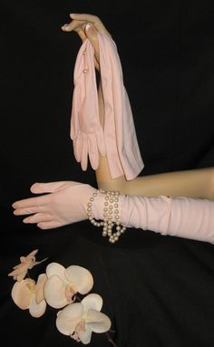 Long Vintage Opera Gloves in Soft Pink Blush with Pearl Buttons - Vintage 60's. $12.00, via Etsy.