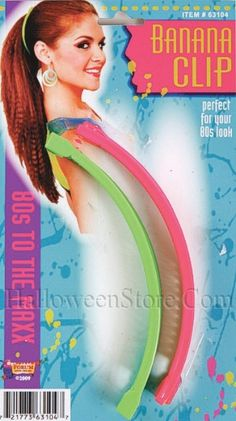 80's Neon Banana Hair Clips - 80s Costumes--I wish these would come back in style!