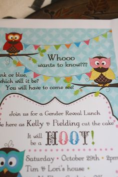 Hoot Hoot!  Owl themed gender reveal party