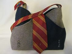 neck tie and an old suit upcycled into a bag ... I especially love the neck tie as a handle