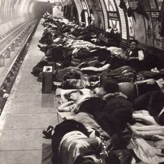 Balham tube station, London during the blitz WW2
