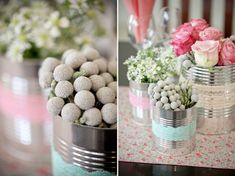 pretty cans with simple lace addition