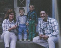 Patsy Cline, her children Randy and Julie, and Charlie Dick, on the front porch of their Goodlettsville, TN home in the fall of 1962.