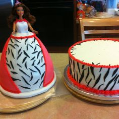 Barbie zebra print/ pink. Cake for a special little girl.  This is a chocolate base cake with buttercream. Doll is white cake with buttercream.