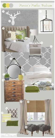green, gray and yellow Mood Board via Cape27Blog