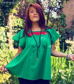 Bohemian blouse top bell sleeves shirt babydoll tunic green organic cotton Boho Hippie style eco-friendly organic OOAK by TheBohemianDream