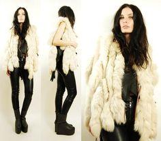 Vtg 60s 70s Silver Genuine Fox Tail Fur Boho Avant Garde Leather Vest Coat s M | eBay