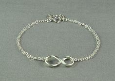 Cute INFINITY Bracelet, Fine Silver Charm, Sterling Silver Double Chain, Pretty, Simple, Beautiful Bracelet. $22.00, via Etsy.