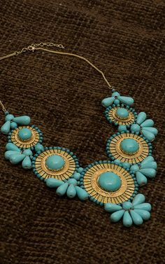 Turquoise Beads and Gold Statement Necklace