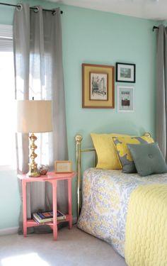 color palette & painting a nightstand... via DreamGreenDIY blog