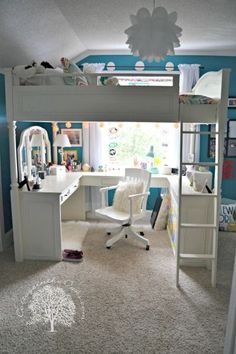Teen girl's bedroom. Love the loft with desk nook underneath