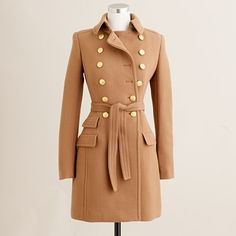 yummy camel coat with gold buttons