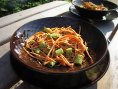 Spicy Raw Peanut Noodles (Carrots) and more vegetable Paleo side dishes recipes on MyNaturalFamily.com #paleo