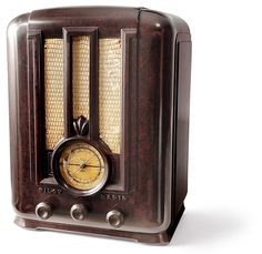 """Pilot Radio model X201, c. 1936    A """"tombstone"""" Bakelite radio made in USA by the Pilot Radio Corporation, circa 1936. The design is attributed to Jan Streng, halfway between Streamlining and Art Deco."""