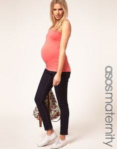 ASOS MATERNITY Indigo Skinny Jeans with adjustable waistband