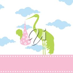 iCLIPART - The stork bears the kid in a beak. A vector illustration