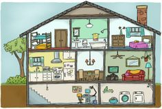 House cutaway view for textbook by Tina Kugler