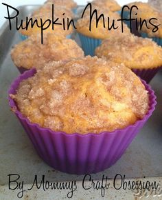 Homemade Pumpkin Muffin Recipe from Mommys Craft Obsession. These are SO delicious and addicting!!