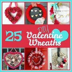 25 DIY Valentines Day Wreath from sixsistersstuff.com #craft #DIY #valentines