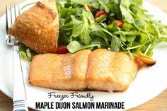 Maple Dijon Salmon Marinade Recipe ~ freezer friendly | 5DollarDinners.com