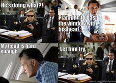 Clinton and Obama discuss Romney's plan to open the airplane window... https://www.facebook.com/LeftFieldFeedback @LeftFieldFB