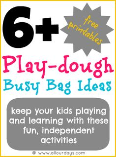 Play-dough Busy Bag Ideas. Links to free printables of PlayDoh mats for PreK'ers to practice counting. Already printed out the Christmas ones for Bailey to play with