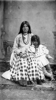 Geronimo's Wife Taazslath and her Child, Chiricahua POWs at Fort Bowie, Arizona, April 1886.