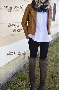 For winter, try a cozy scarf, a leather jacket and black denim pants. Top it off with knee-length boots. long legs, fall fashions, knee high boots, fall outfits, knee length boots, leather jackets, tall black boots outfit, outfits with tall boots, black jeans