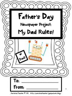 Fathers Day Newspaper Project My Dad Rules