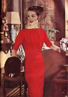 dresses, the dress, red velvet, fur, 1960s style, fashion hats, veil, fashion looks, 1950s fashion