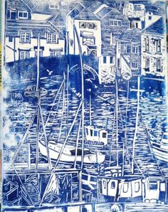 First hand pulled print taken from a lino cut of Polperro harbour.