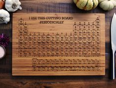 Periodic Table engraved bamboo wood cutting board