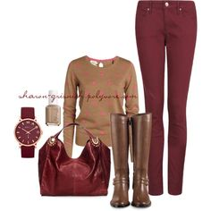 """""""Burgundy & Camel"""" by sharon-grisnich on Polyvore"""
