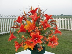 Cemetery Flowers Orange Day Lily Summer Grave Urn Cone Centerpiece | eBay