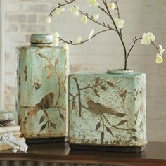 Set of Two Freya Jars. love anything with birds!