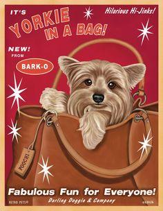 Yorkie Art - Yorkie In A Bag