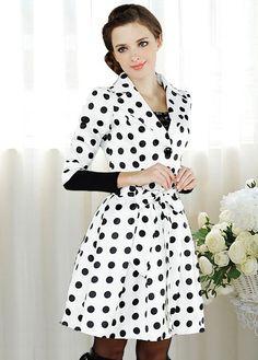 black and white polka dot trench coat - darling!