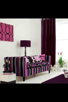 Purple home decor on pinterest purple kitchen purple for Purple and black living room ideas