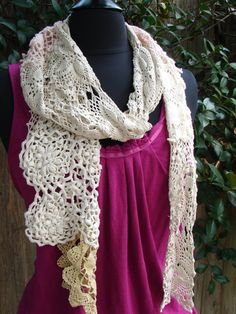 Scarf made from Vintage Crocheted Doilies